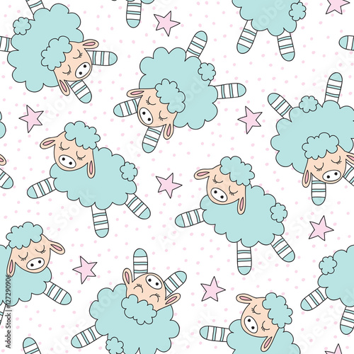 seamless sheep and stars pattern vector illustration