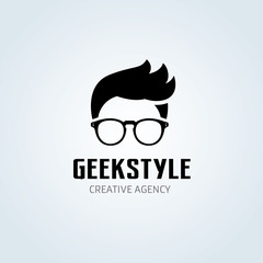 Geek Style Logo, Hire and barber shop logo