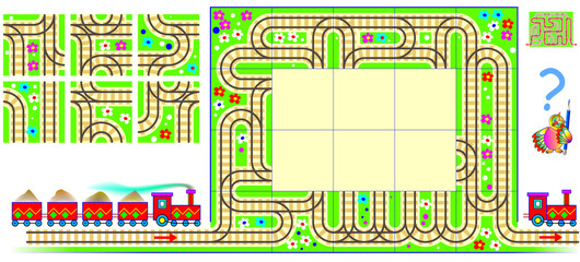 Logic puzzle with labyrinth. Need to draw the railroad rails using remaining squares and find the way for train from beginning to end. Vector image.