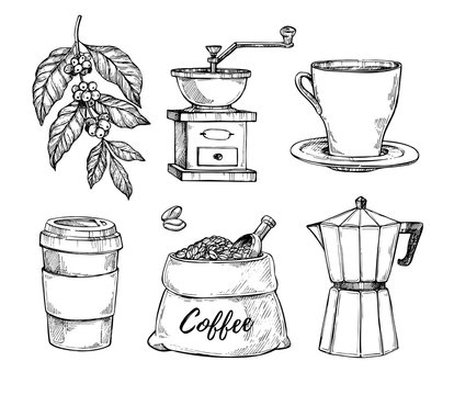 Coffee vintage hand drawn sketch set