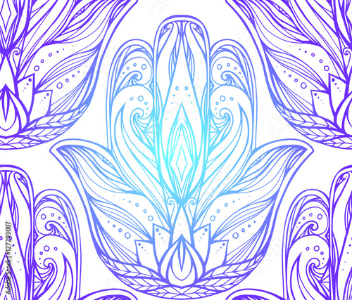 Seamless Pattern With Contour Illustration Of Hamsa Boho Hand Buddha Vector