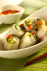 Vietnamese spring roll with avocado on a banana life