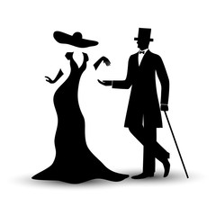 Lady and gentleman in vintage style, man in a tuxedo with a cane, girl in a long dress and hat, black hand drawing silhouette, isolate on a white background. Vector illustration.