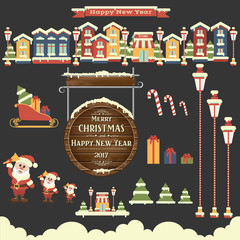 Vector set of signs and symbols of Christmas. Infographics. Flat style. Merry Christmas and a Happy New Year