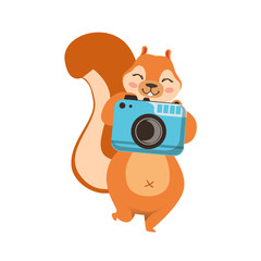 Red Squirrel Taking Picture With Photo Camera Humanized Cartoon Cute Forest Animal Character Childish Illustration