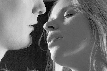 Sensual young couple kissing