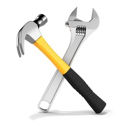 Steel nail hammer with variable wrench