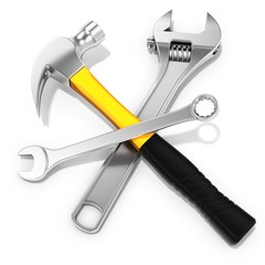 Steel hammer, spanner and  adjustable spanner
