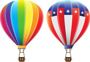 vector colorful hot air balloon rainbow and usa american flag illustration