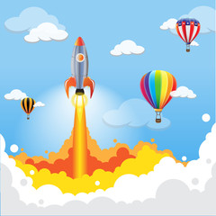 rocket launching over the hot air balloons in the sky. Business competition concept. Vector illustration