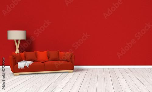 rote couch raum stockfotos und lizenzfreie bilder auf bild 127299064. Black Bedroom Furniture Sets. Home Design Ideas