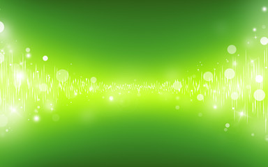 Green glitter sparkles glowing wave sound rays bokeh abstract background/texture.