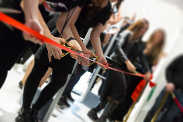 store grand opening - cutting red ribbon Wall mural