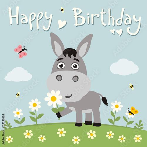 Happy birthday Cute donkey with flower on meadow Birthday card – Donkey Birthday Card
