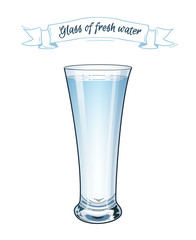 Vector illustration. EPS 10. A glass of fresh clear water on white background.