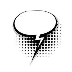 Blank template comic speech oval lightning bubble halftone dot background style pop art. Comic dialog empty cloud, text style pop art. Creative composition idea conversation comic sketch explosion