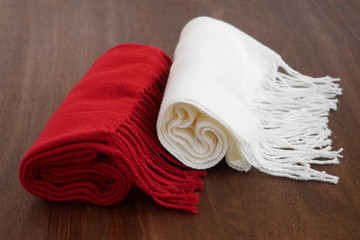 Red and white winter scarves