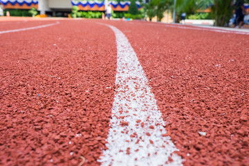 Close up line curve rubber running track standard.