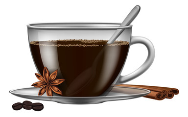 A cup of coffee with spices (star anise and cinnamon) and roasted coffee beans. Vector illustration.