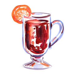 Hot beverage in transparent cup decorated with a slice of orange painted in watercolor on clean white background