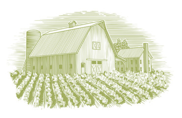 Woodcut-style illustration of a farm scene with a barn in the foreground and a farm house in the background.