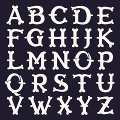 Alphabet made out of bones.