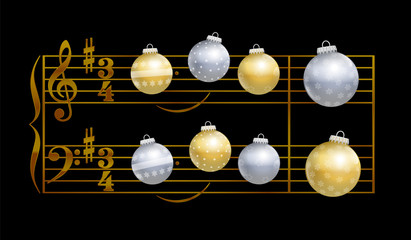 Baubles playing christmas song Silent Night - musical notation on black background.