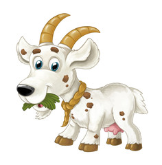 Cartoon happy horned goat is running jumping looking and smiling - artistic style - isolated - illustration for children