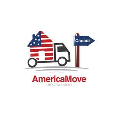 Creative America Moving Concept Logo Design Template