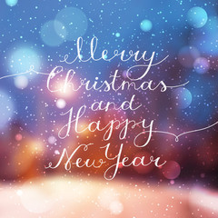 merry christmas and happy new year, vector lettering, handwritten text on blurred background of night winter street