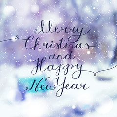 merry christmas and happy new year, vector lettering, handwritten text on blurred winter background