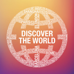 Discover the World quote in globe tourist vector concept