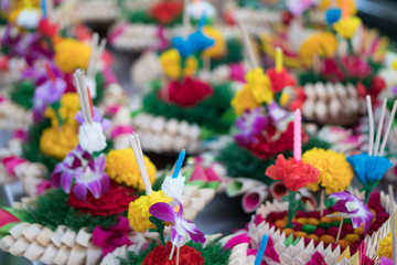 Krathongs were made with banana leaves for Loykrathong festival in Thailand