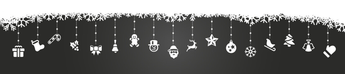 Wall Mural - white christmas icons dark background