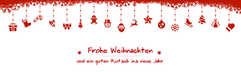 Wall Mural - red christmas icons tree frohe weihnachten