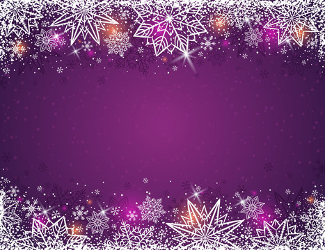 Purple background with  frame of snowflakes and stars,  vector