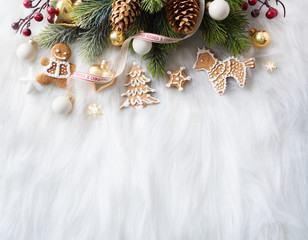 Bright Christmas; Holidays background with Xmas decoration and C