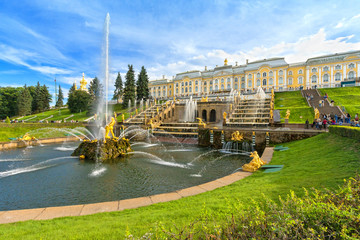 Grand cascade in Peterhof, Saint-Petersburg, Russia.