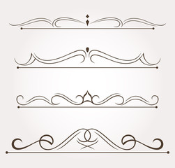 Set of four design elements and page decoration. Vector illustration