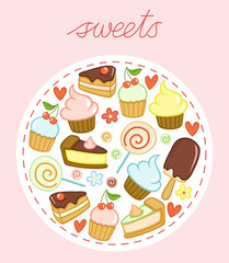 Set of sweets with cakes, cupcakes, lollipops, ice cream, hearts and flowers