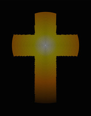 Golden latin cross radial dot pattern. Christian cross, symbol of Christianity, also called  Roman cross, generated by single dots beginning from the center. Illustration on black background. Vector.