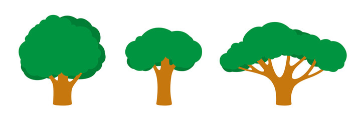 Set of trees of different shapes and sizes with a dark green foliage, branches, leaves. Objects, icons in flat style Components for landscape pictures, game locations and nature, vector