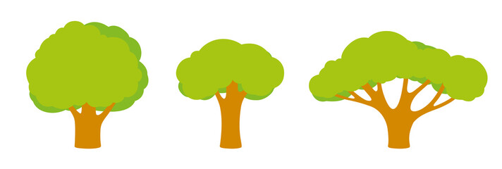 Set of trees of different shapes and sizes with a bright green foliage, branches, leaves. Objects, icons in flat style Components for landscape pictures, game locations and nature, vector