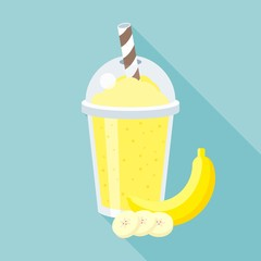 Banana smoothie vector illustration, flat design with long shadow