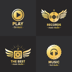 Music studio and radio gold logo vintage vector set. Part two.