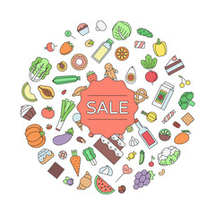 Sale food and drink circle outline illustration.