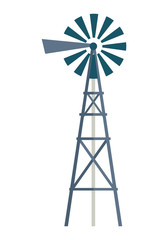 Wind Water Pump Vector Illustration.