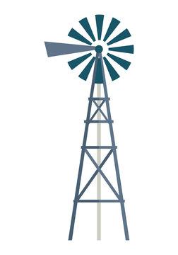 Wind Water Pump Vector Illustration.