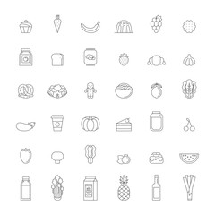 Food and drinks outline icon set (gray). Simple design.