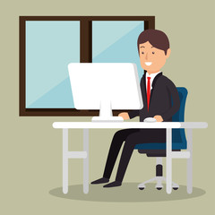 office worker business man computer vector illustration eps 10